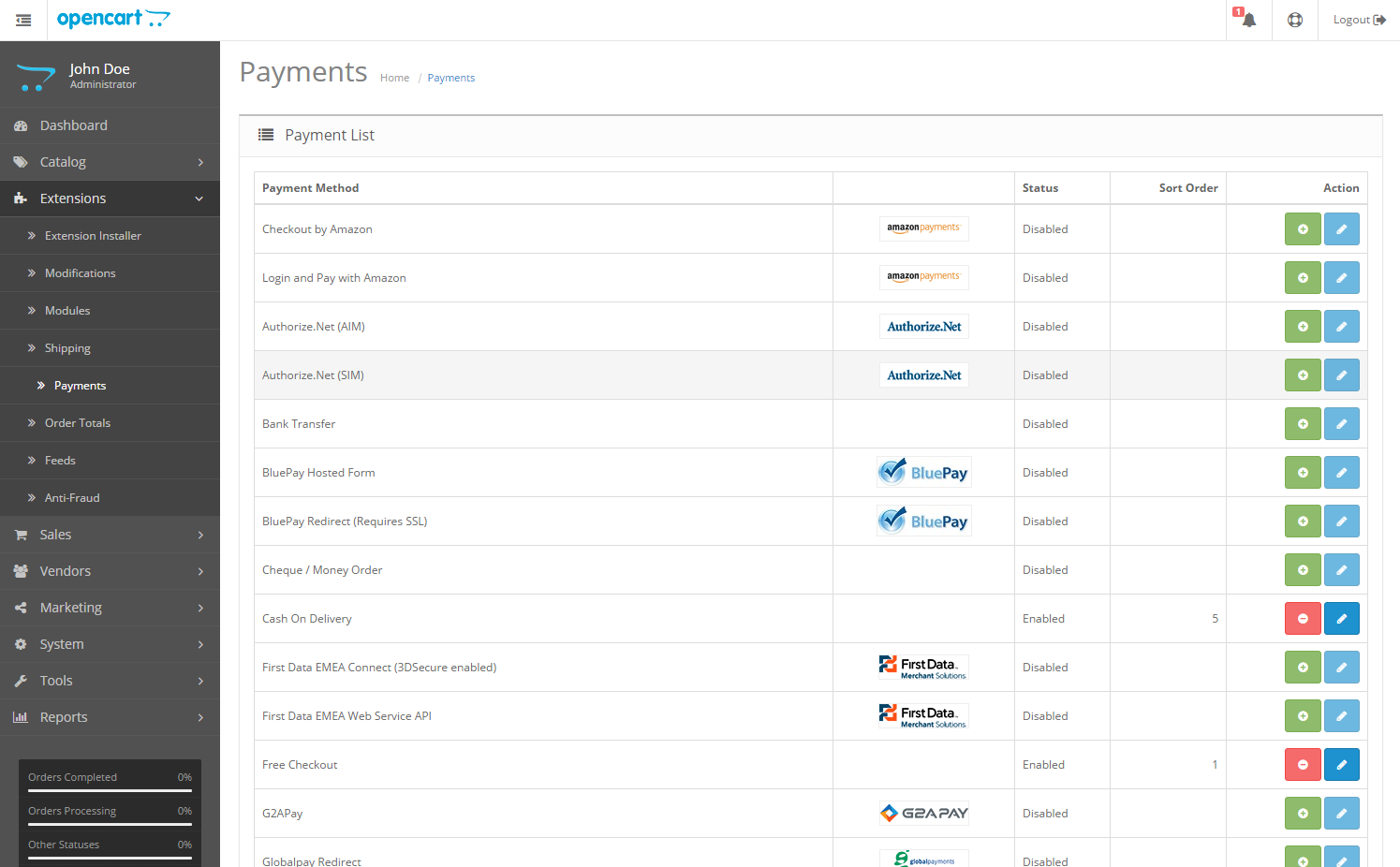 Extensions Payment Page