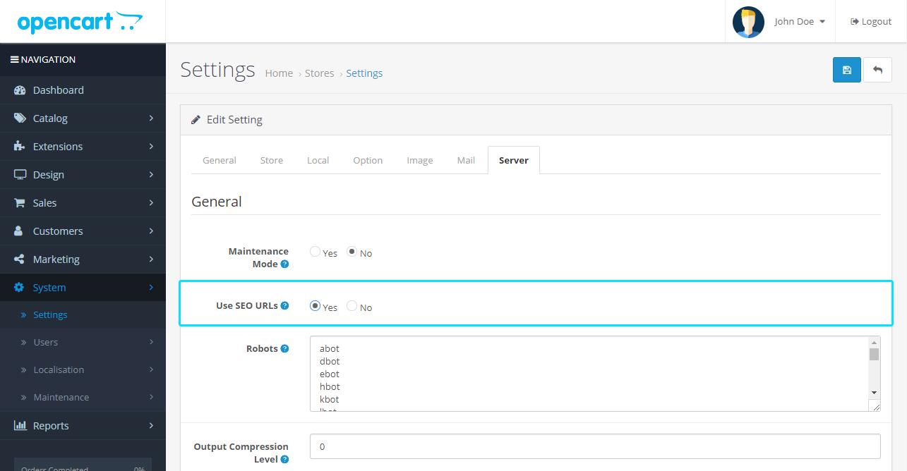 System Setting - SEO URL