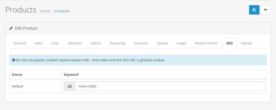 SEO keywords - OpenCart Documentation