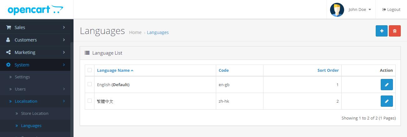 Dil Listesinde yüklü dil