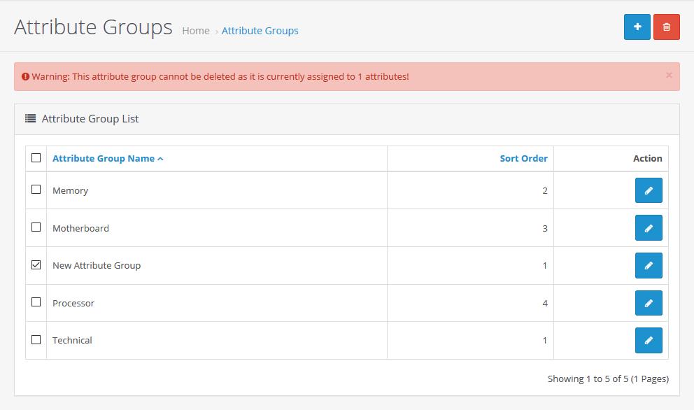 Attribute Groups Delete Error