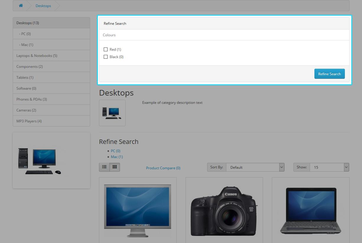 Store Front - Desktop Refine Search