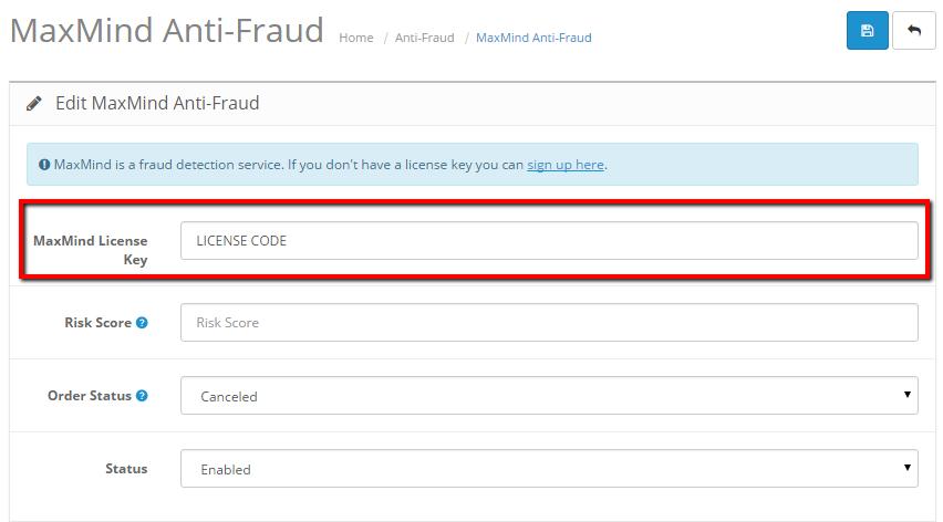Anti-Fraud - OpenCart Documentation