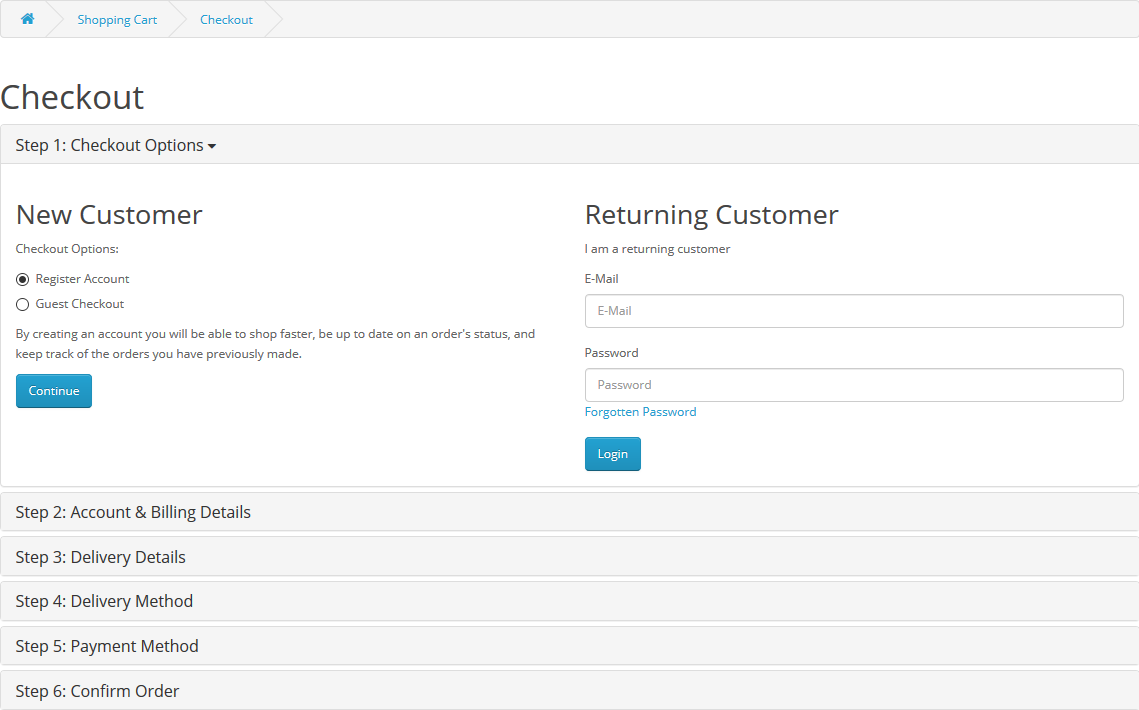 front - official checkout register account